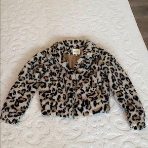NWOT Fantastic Fawn Leopard Teddy Bear Jacket